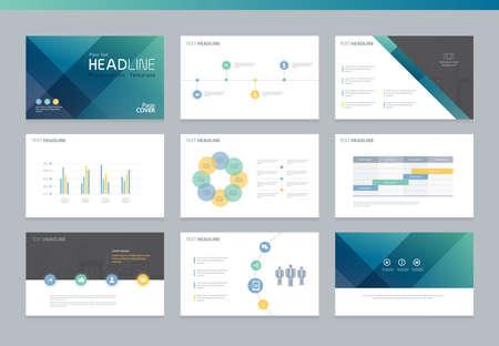 Plantilla de diseño de diseño de la página de presentación y un folleto, informe anual, folletos y página del libro con el diseño de elementos de infografía
