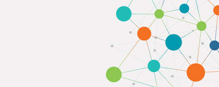 color abstract social network connection banner background concept Illustration
