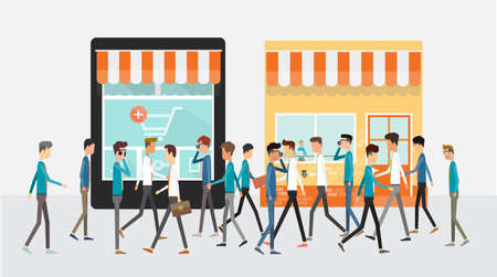 shopping people: business mobile online shopping concept and store shop with group people business customers Illustration
