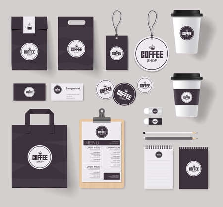 coffee shop and restaurant branding identity mock up template with coffee logo design
