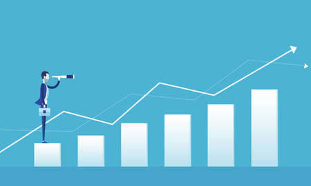 flat vector for business vision concept and business man standing on graph growth with group people business concept