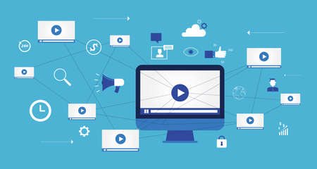 network marketing: flat vector for  business video marketing content online concept and digital marketing content and social network connection concept Illustration