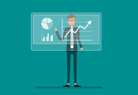 course development: : business man analyze  on financial report graph profit growth with infographic chart on monitor and  business planning concept.flat vector cartoon design