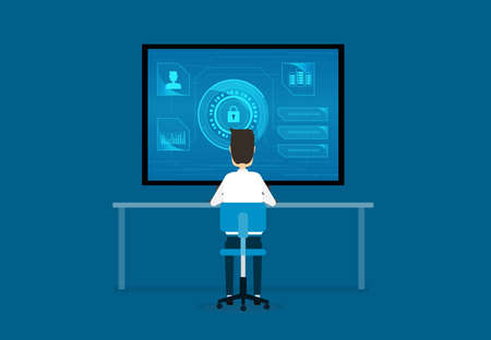 technology internet cyber security design concept and data security concept Illustration