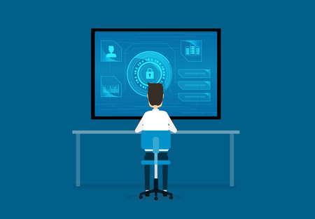La tecnologia di Internet Cyber ??Security concept design e dei dati concetto di sicurezza Archivio Fotografico - 71029700