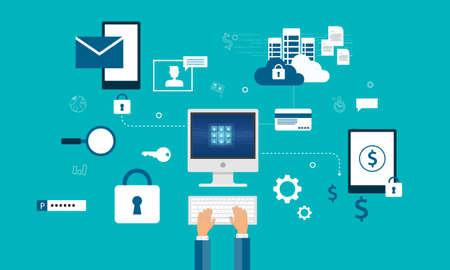 Technologie Internet Cyber-Sicherheit Design-Konzept und Datensicherheitskonzept Vektorgrafik