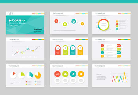 flat vector  set infographics element design template. for business  presentation template , brochure, and web design Ilustração