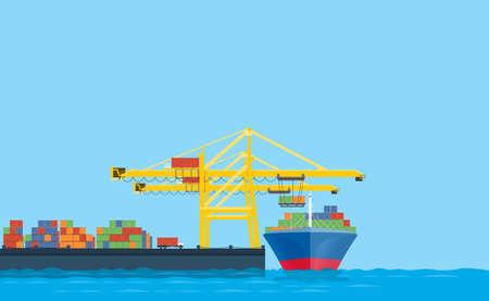 Shopping de vetor plano e conceito de logística. Transporte internacional. Com loja de carga na doca de embarque