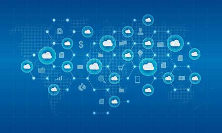 Technologii cyber chmury sieci i koncepcji tła połączenia Ilustracje wektorowe