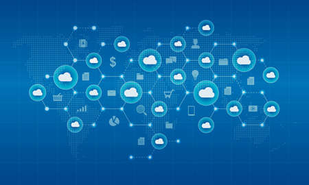 Technology cyber cloud network and connection background concept