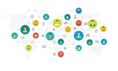 social network connection and global business communication concept Illustration
