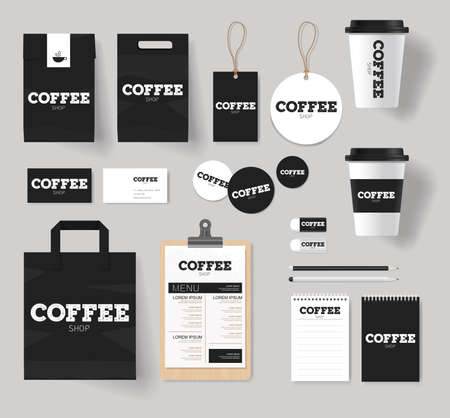graphic display cards: branding identity for coffee shop and restaurant mock up template with coffee logo design