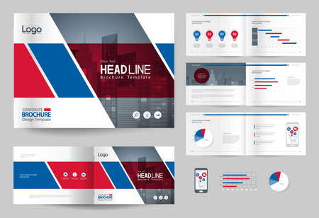 business brochure design template and page layout for company profile, annual report,with page cover design background Ilustração