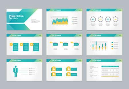 Presentación abstracta diapositiva plantilla de diseño de fondo con elementos infográficos para el folleto, info.flat social ilustración vectorial Ilustración de vector