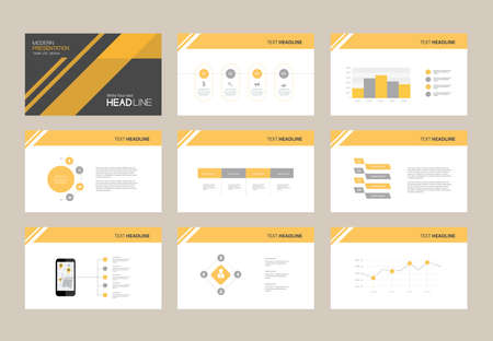 Présentation abstraite slide template design background avec éléments infographiques pour brochure, info social.flat illustration vectorielle Vecteurs