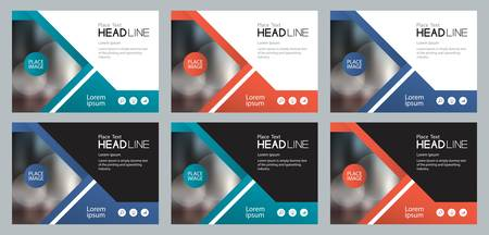 Disegno di set di modelli per i media sociali e la bandiera web per la presentazione, l'opuscolo, la copertina del libro e i volantini Vettoriali