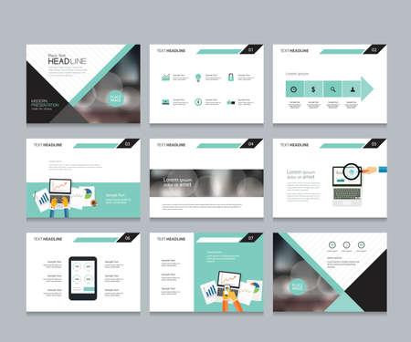 ビジネス プレゼンテーション テンプレート デザイン、パンフレット、本、雑誌、年次レポート、会社プロフィール、インフォ グラフィック要素グ  イラスト・ベクター素材