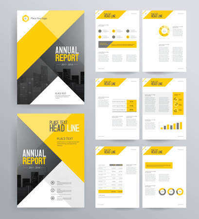 Template design for company profile ,annual report , brochure , flyer ,and page layout with business info graphic element, A 4 size, vector editable