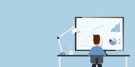 Flat businessman analyze finance and investment graph report monitor and business people working concept Illustration