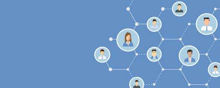 Flache Sozialnetzverbindung für on-line-Geschäftsfahnen-Hintergrundkonzept