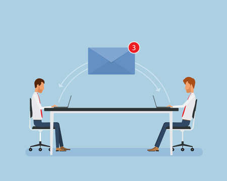 Flat business people working online and business email marketing concept