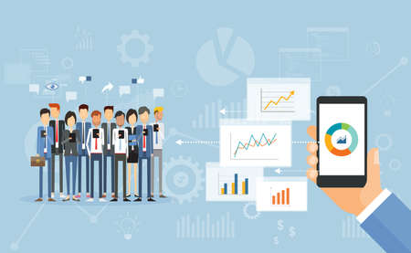 Flat vector business finance investment report concept Иллюстрация