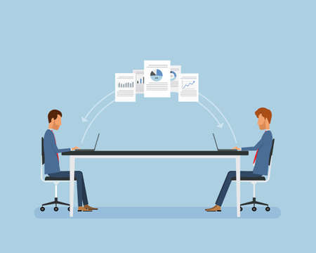 Flat business people working online concept
