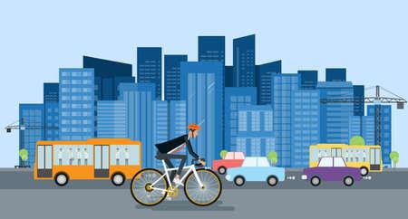 평면 디자인 실업가 자전거 작업 및 에너지 절약 개념 이동
