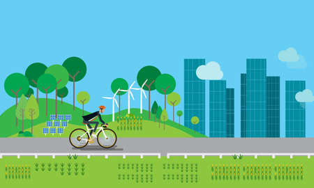 Flat businessman character biking on the road and energy conservation concept