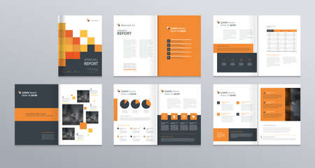business company profile ,annual report , brochure , flyer, presentations,magazine,and book layout template, with page cover design and info chart element. vector a4 size for editable. Иллюстрация