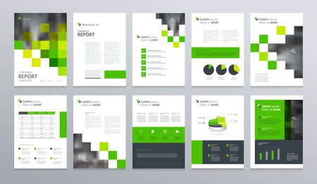 business company profile ,annual report , brochure , flyer, presentations,magazine,and book layout template, with page cover design and info chart element. vector a4 size for editable. Stok Fotoğraf - 94439026