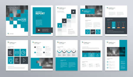 business company profile ,annual report , brochure , flyer, presentations,magazine,and book layout template, with page cover design and info chart element. vector a4 size for editable. Ilustracja