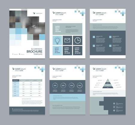 business company profile ,annual report , brochure , flyer, presentations,magazine,and book layout template, with page cover design and info chart element. vector a4 size for editable. Vectores