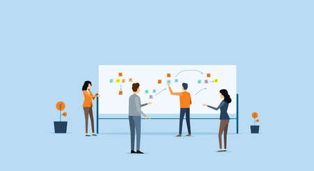 Group business team meeting and project brainstorming process concept Illustration