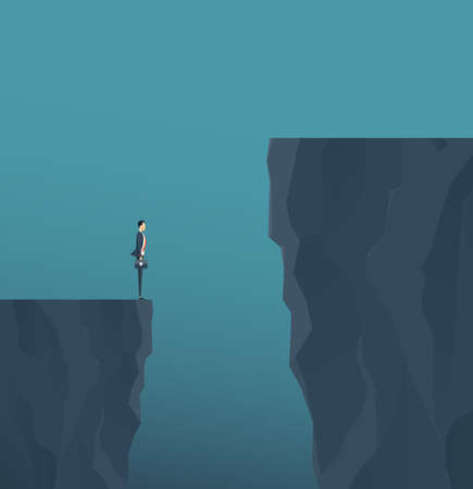 Flat vector concept businessman standing on mountain cliff, and business obstacle concept.