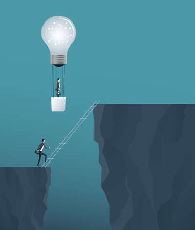 Flat vector creative idea for business solve concept and business competition concept with two business people cross the cliff . Stock Illustratie