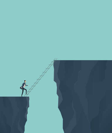 Flat vector concept for business finance investment risk with businessman cross the cliff concept. Ilustração