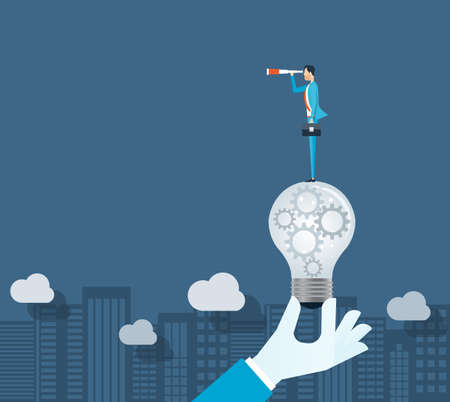 Flat vector business vision concept and businessman standing on light bulbs