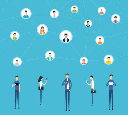 Flat business online communication on social network connection and digital marketing online concept