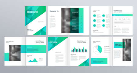 layout template  for company profile ,annual report , brochures, flyers, leaflet, magazine,book with cover page design . 向量圖像