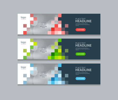 Abstract horizontal web banner design template backgrounds Vector Illustration