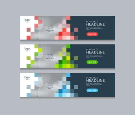 Arrière-plans de modèle de conception abstraite bannière web horizontal Vecteurs