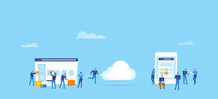 El negocio en equipo desarrolla y diseña una aplicación web y carga la conexión a la nube para el concepto de usuario en línea con el concepto de trabajo en equipo de personas en grupo