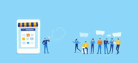 tienda online en el móvil conectar con el cliente del grupo