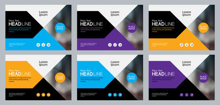 set abstract background template design for social media post and web banners concept , with use in presentation cover,brochure,book cover layout concept Stock Illustratie