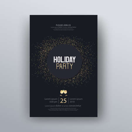 vector illustration design for holiday party and happy new year party invitation flyer and greeting card