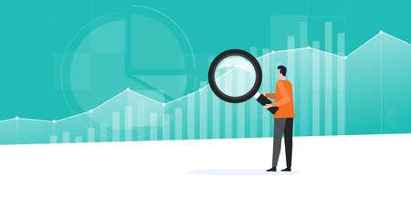 Mensen uit het bedrijfsleven werken aan analyses en het toezicht op het investeringsfinancieringsplan op het dashboardconcept van de rapportgrafiek