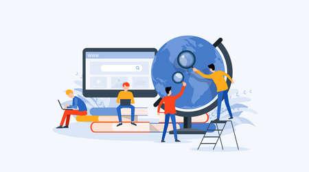 Flaches Vektor-Illustrationstechnologie-Geschäftsforschungs-, Lern- und Online-Bildungskonzept mit Menschengeschäftsteam-Arbeitskonzept