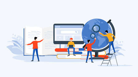 plat Vector illustration technologie recherche commerciale, apprentissage et concept d'éducation en ligne avec concept de travail d'équipe commerciale de personnes