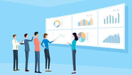 flat illustrations business analytic team meeting and  finance project training concept